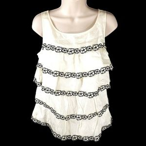 J Crew Collection Tiered Silk Tank Blouse Size 2